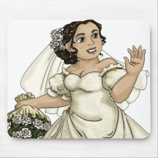 White Roses Bride Mouse Pad