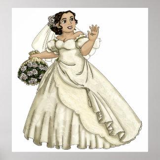 White Roses Bride Poster
