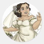 White Roses Bride Sticker