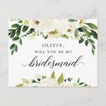 """White Roses Bridesmaid Proposal Card<br><div class=""""desc"""">Pop the question with this lovely card! Easily edit the name and the message on the back - then add to cart!</div>"""