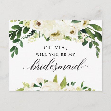 White Roses Bridesmaid Proposal Card