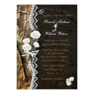 White Roses & Camo 5x7 Paper Invitation Card
