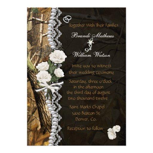 White Roses Camo Invitation