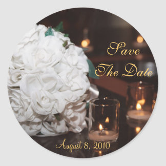 White Roses & Candlelight Save The Date Sticker