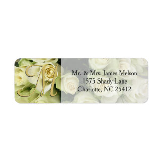 White Roses Champagne Blush Wedding Suite Label