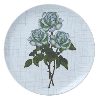 White Roses: Color Pencil Drawing on Blue Linen Dinner Plate