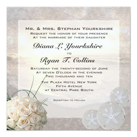 White Roses & Diamond Sand Dollar Wedding Card