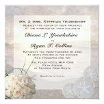 White Roses & Diamond Sand Dollar Wedding 5.25x5.25 Square Paper Invitation Card