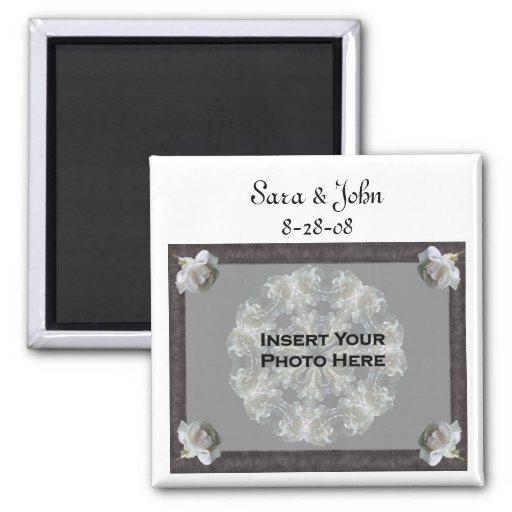 White Roses Elegant Wedding Favor Photo Magnet