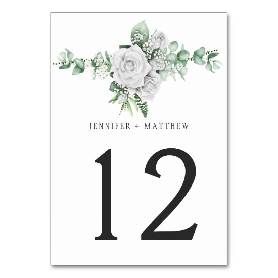 White Roses Eucalyptus Baby's Breath Table Cards