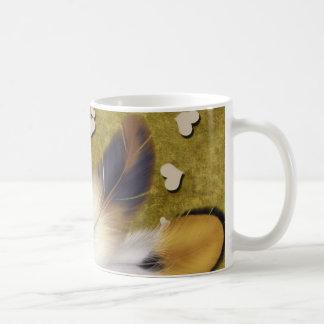 White Roses & Feathers Classic White Coffee Mug
