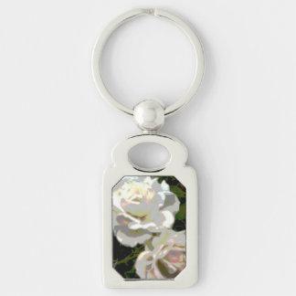 White Roses Flower Photo Keychain
