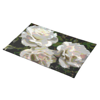 White Roses Flower Photograph Cloth Placemat