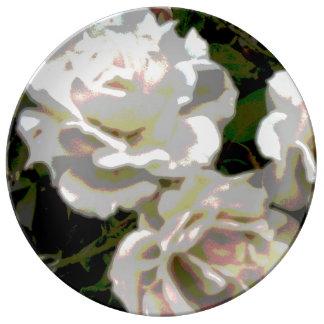White Roses Flower Photograph Dinner Plate