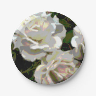 White Roses Flower Photograph Paper Plate