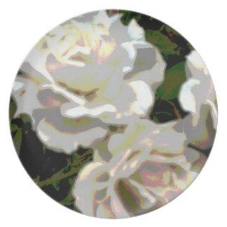 White Roses Flower Photograph Plate