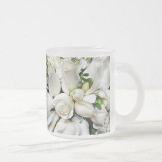 White Roses,for any occasion_ Frosted Glass Coffee Mug