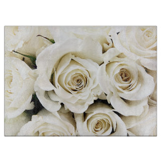White Roses Glass Cutting Board