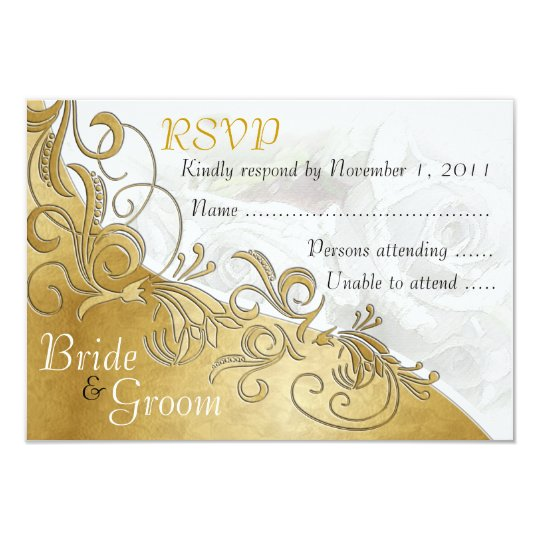 White Roses & Gold - Bride & Groom RSVP Card