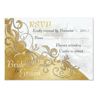 White Roses & Gold - Bride & Groom RSVP Card - 2