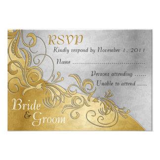 White Roses & Gold - Bride & Groom RSVP Card - 3