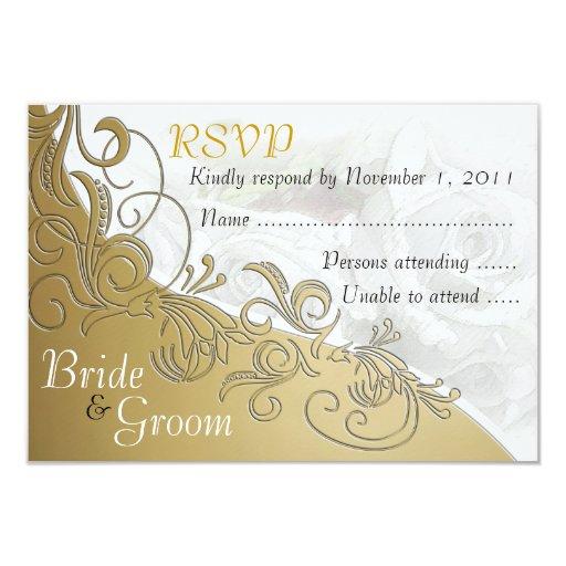 White Roses & Gold - Bride & Groom RSVP Card Custom Invite