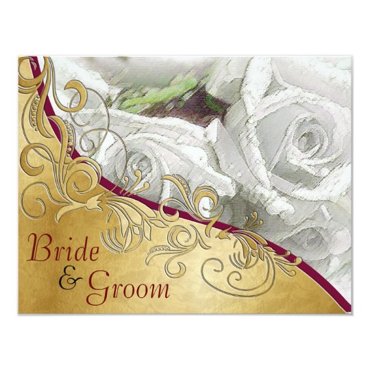 White Roses & Gold - Flat 2 sided Wedding Invite