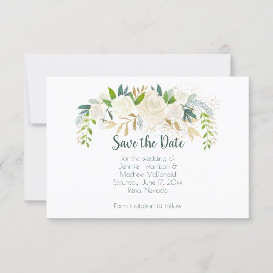 White Roses Gold Green Leaves Save The Date |