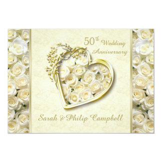 White roses, golden heart 50th Wedding Anniversary Card