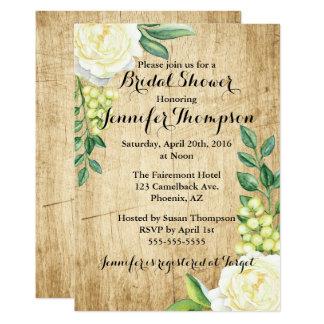 White Roses & Green Leaves Bridal Shower Card