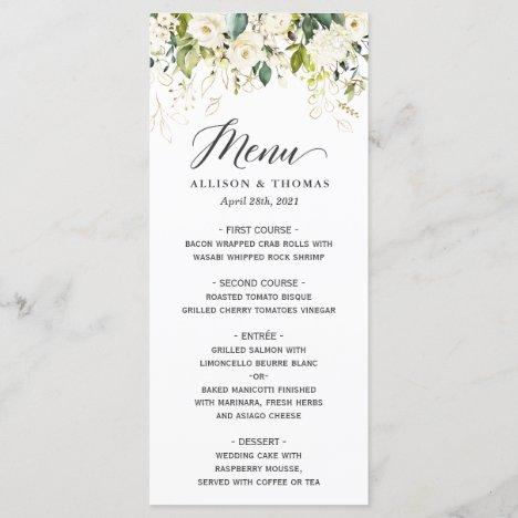 White Roses Greenery Gold Floral Wedding Menu