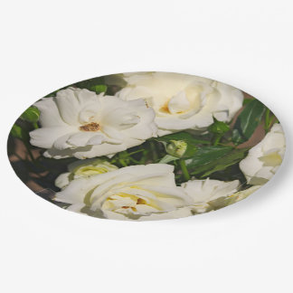 White Roses in Bloom - Flower photography Paper Plate