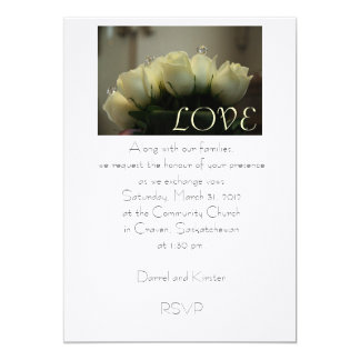 White Roses 5x7 Paper Invitation Card