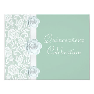 White Roses & Lace Mint Green Birthday Quinceanera 4.25x5.5 Paper Invitation Card