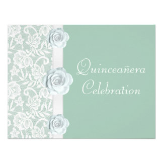 White Roses Lace Mint Green Birthday Quinceanera Invites