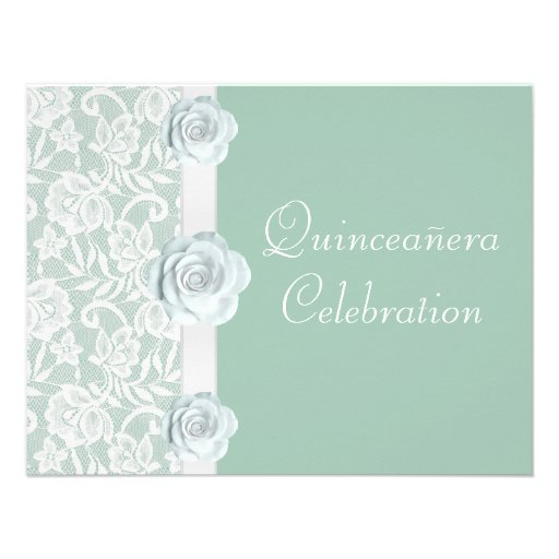 White Roses & Lace Mint Green Birthday Quinceanera Invites