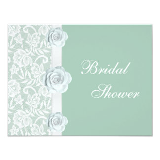 White Roses & Lace Mint Green Bridal Shower Card