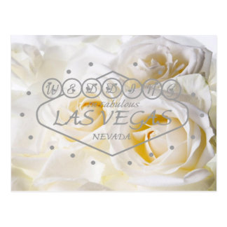 White Roses Las Vegas Wedding with floating hearts Postcard