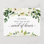 """White Roses Maid of Honor Proposal Card<br><div class=""""desc"""">Pop the question with this lovely card! Easily edit the name and the message on the back - then add to cart!</div>"""