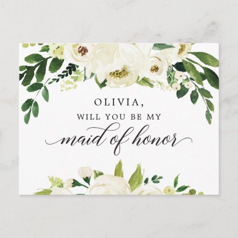 White Roses Maid of Honor Proposal Card