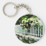 White Roses on a Picket Fence Keychains