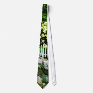White Roses on a Picket Fence Neck Tie