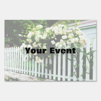 White Roses on a Picket Fence Sign