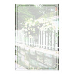 White Roses on a Picket Fence Personalized Stationery