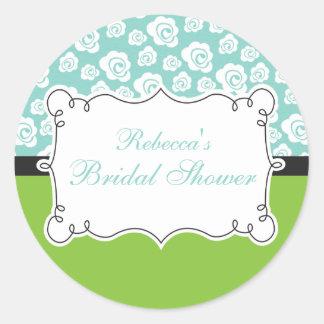 White Roses on Aqua & Green Bridal Shower Classic Round Sticker