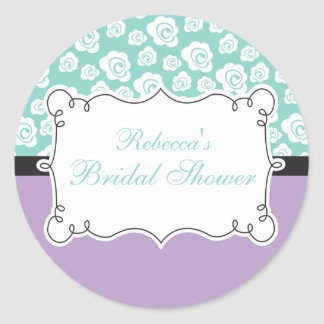 White Roses on Aqua & Purple Bridal Shower Classic Round Sticker