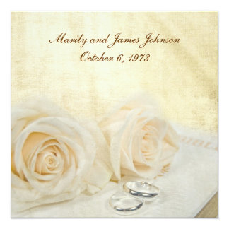 White Roses on Bible Vow Renewal Personalized Invite