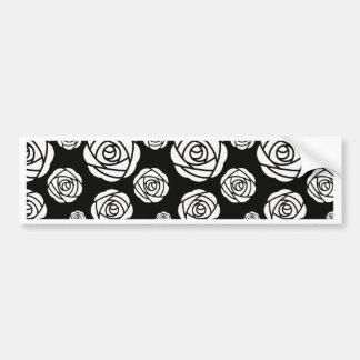 White Roses on Black Car Bumper Sticker