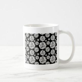 White Roses on Black Coffee Mug
