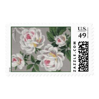 White Roses on Grey Wallpaper Postage